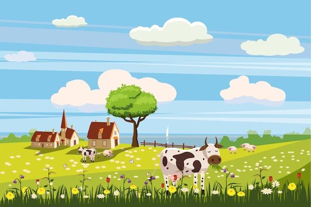 Schöne ländliche landschaft des landes, kuhweiden, bauernhof, blumen, weide Premium Vektoren