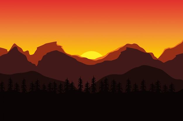 Schöne landschaft des sonnenuntergangs in den bergen Premium Vektoren