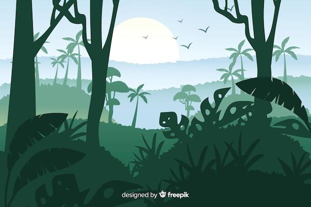 Schöne landschaft des tropischen waldes und der vögel Kostenlosen Vektoren
