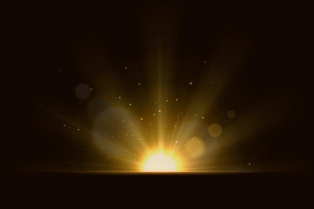 Schöne lichtstrahlen wirkung Kostenlosen Vektoren