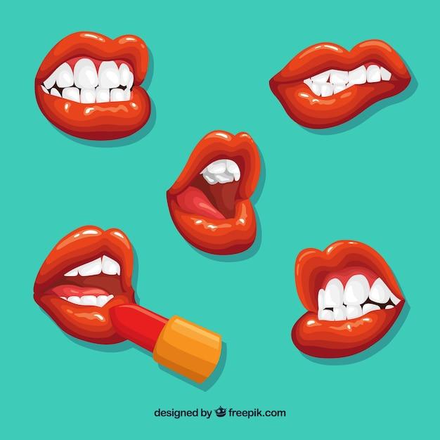 Schöne lippen eingestellt Kostenlosen Vektoren