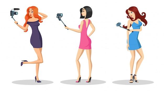 Schöne mädchen mit langen haaren stehen und mode vlog aufnehmen, live-tutorial-video. Premium Vektoren