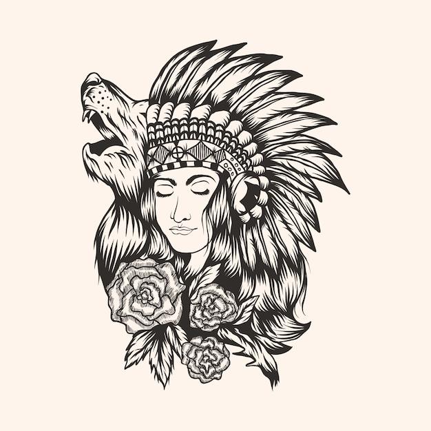 Schöne mädchenvektorillustration des amerikanischen ureinwohners Premium Vektoren