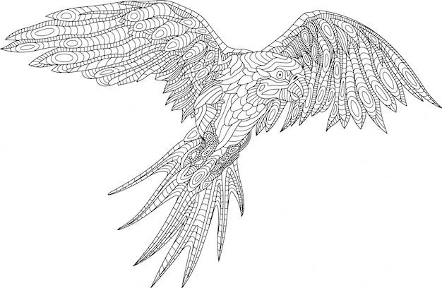 Schöne malbuchseite mit papagei auf weißem hintergrund Premium Vektoren