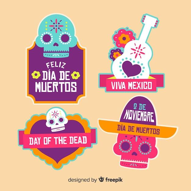 Schöne mexikanische festlichkeit abzeichen sammlung mit flachen design Kostenlosen Vektoren