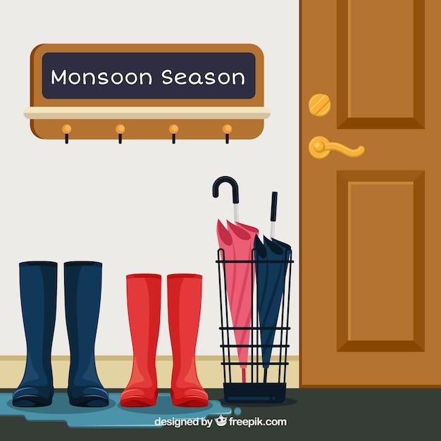 Schöne monsun saison komposition mit flachen design Kostenlosen Vektoren