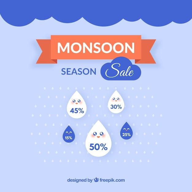 Schöne monsun saison verkauf zusammensetzung Kostenlosen Vektoren