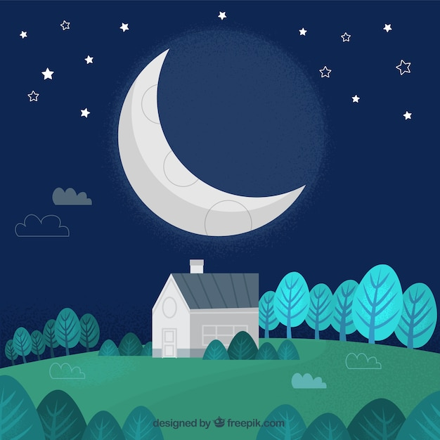 Schöne nachtlandschaft mit mond Kostenlosen Vektoren