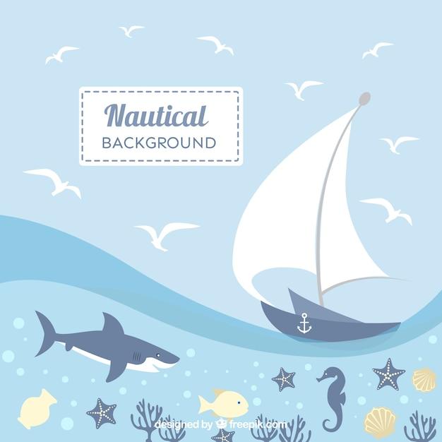 Schöne nautischen hintergrund mit tieren und schiff Kostenlosen Vektoren