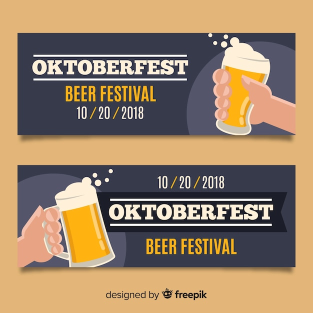 Schöne oktoberfest-banner mit flachem design Kostenlosen Vektoren