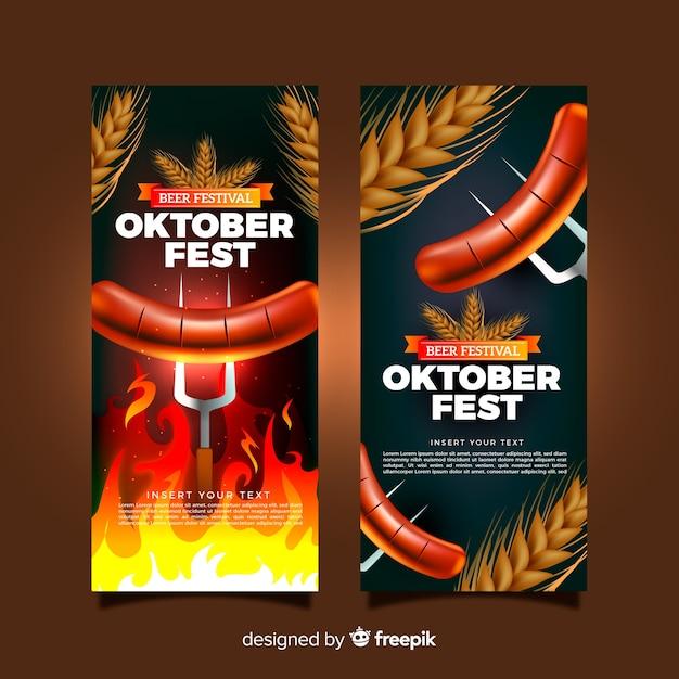 Schöne oktoberfest-banner mit realistischem design Kostenlosen Vektoren