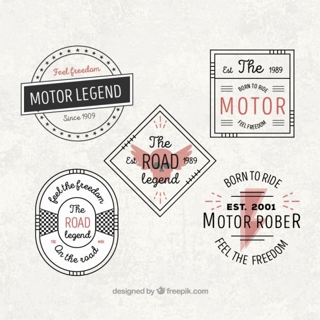 Schöne oldtimer motorrad-abzeichen Kostenlosen Vektoren