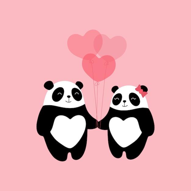 Schöne pandas in der liebe, ein geschenk zum valentinstag, eine liebeserklärung, herzförmige luftballons. Premium Vektoren