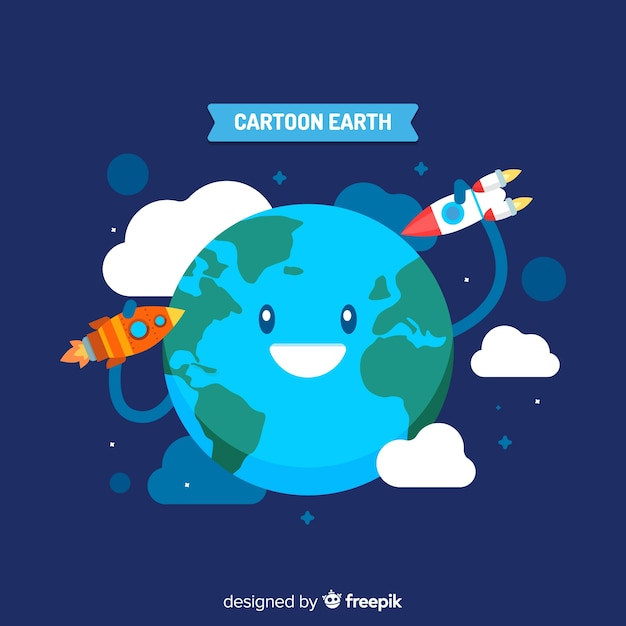 Schöne planeten erde mit cartoon-stil Kostenlosen Vektoren