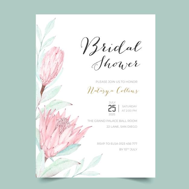 Schöne protea bridal shower einladungsschablone Premium Vektoren