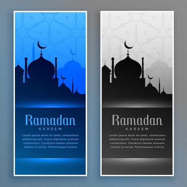 Schöne ramadan-banner mit moschee Kostenlosen Vektoren