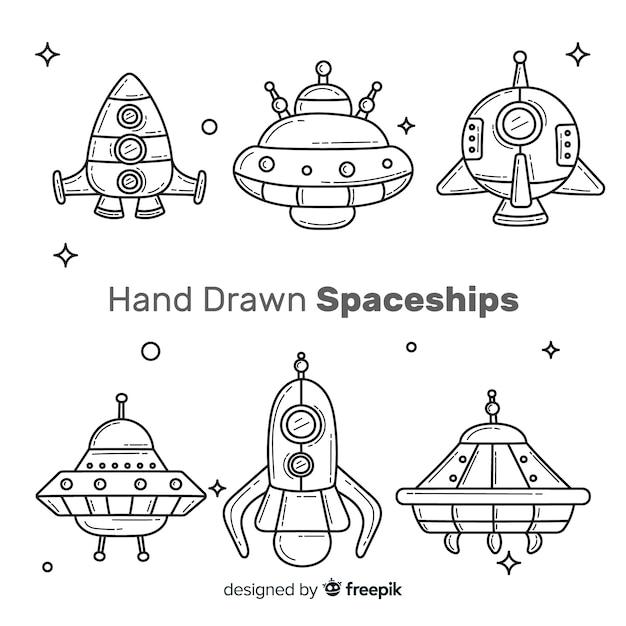 Schöne raumschiffsammlung mit hand gezeichnetem stil Kostenlosen Vektoren