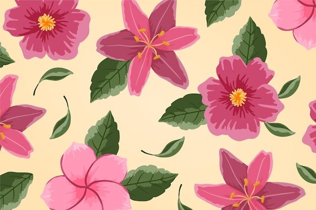 Schöne rosa blumen handgemalt gezeichnet Kostenlosen Vektoren