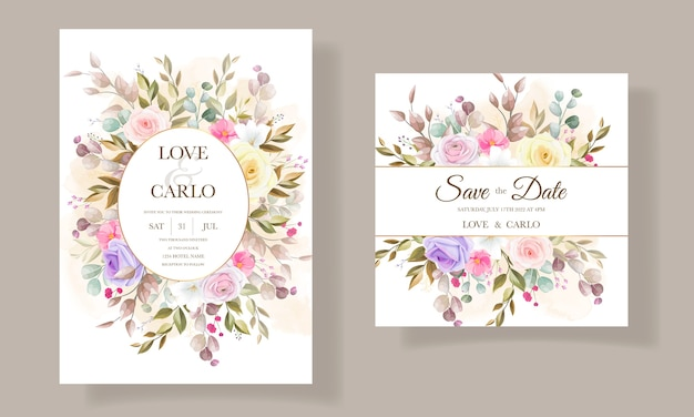 Schöne rosenblumeneinladungskartenschablonendesigns Kostenlosen Vektoren