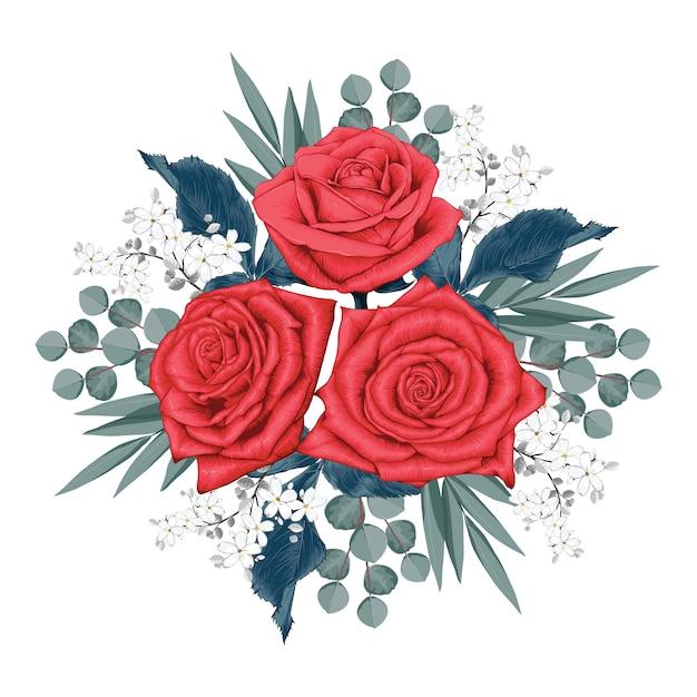 Schöne rote rose blüht blumenstrauß auf lokalisiert Premium Vektoren