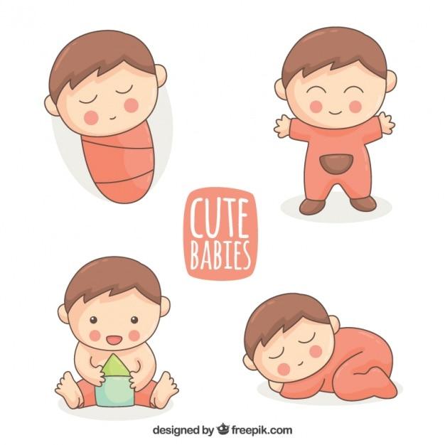 Schöne sammlung von handgezeichneten baby Kostenlosen Vektoren