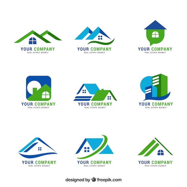 Schöne sammlung von immobilienlogos Kostenlosen Vektoren