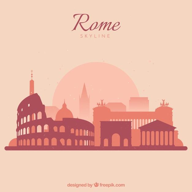 Schöne skyline von rom Kostenlosen Vektoren