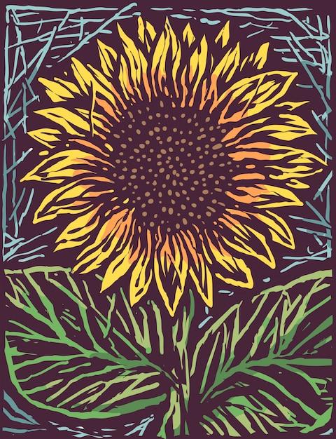 Schöne sonnenblume gravieren karikatur-art-illustration Premium Vektoren