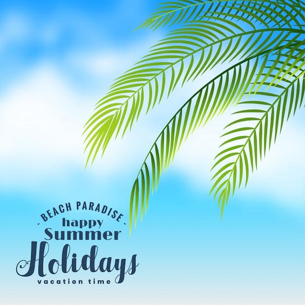 Schöne strandszene mit palmeblättern Kostenlosen Vektoren