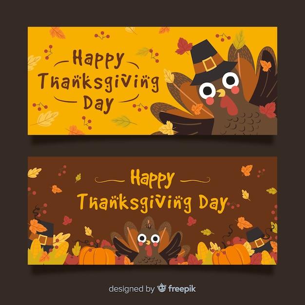 Schöne thanksgiving-banner Kostenlosen Vektoren