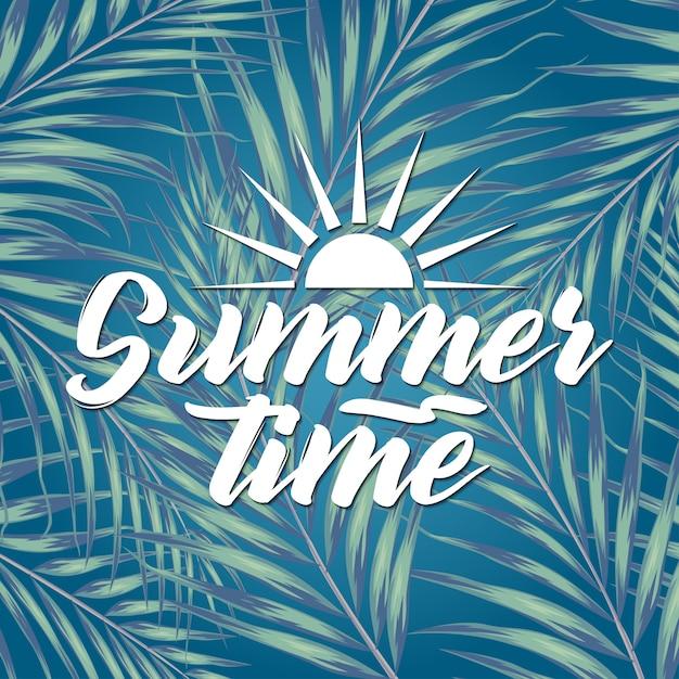 Schöne tropische blätter mit beschriftung auf unschärfehintergrund. sommer-konzept illustration Premium Vektoren
