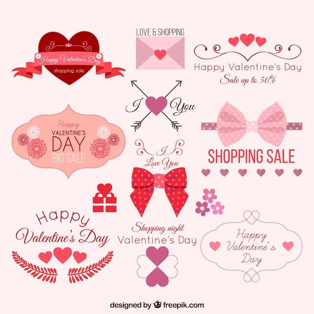 Schöne valentinsgrußelemente pack Kostenlosen Vektoren