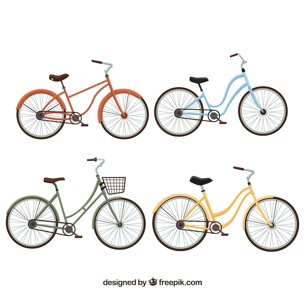 Schöne vintage-fahrräder im flachen design Kostenlosen Vektoren