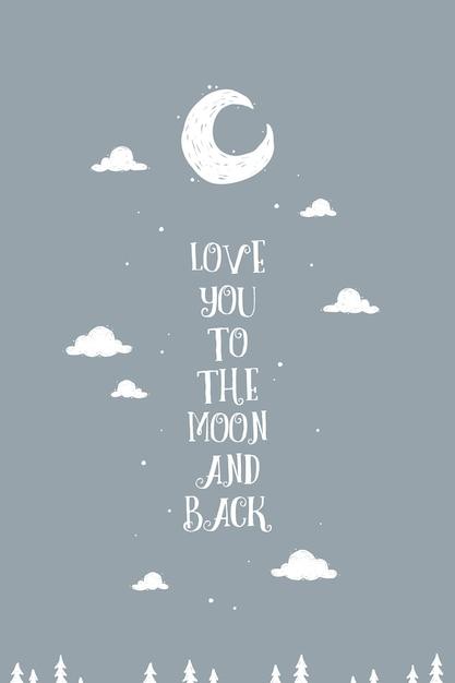 Schöne wand kunst poster \'liebe dich zum mond und zurück\' | Download ...