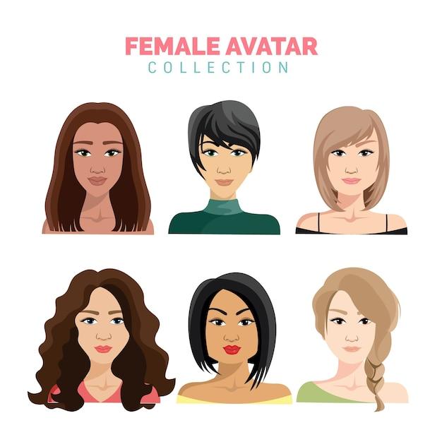 Schöne weibliche avatarasammlung Premium Vektoren