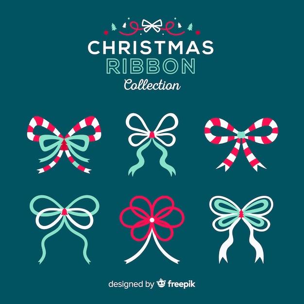 Schöne weihnachtsbandsammlung mit flachem design Kostenlosen Vektoren