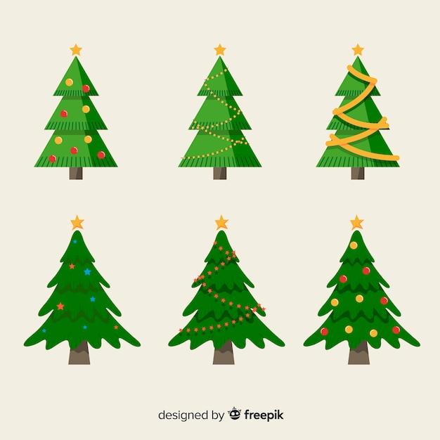 Schöne weihnachtsbaum-sammlung mit flachem design Kostenlosen Vektoren