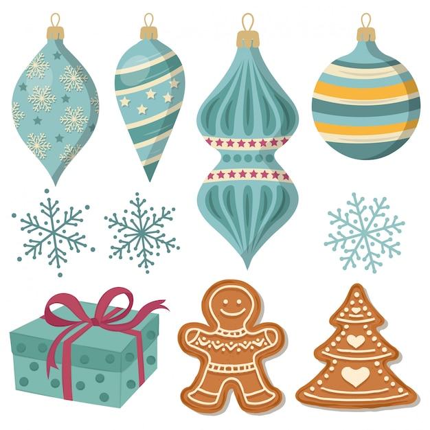 Schöne weihnachtsdekorationssammlung lokalisiert auf weiß Premium Vektoren