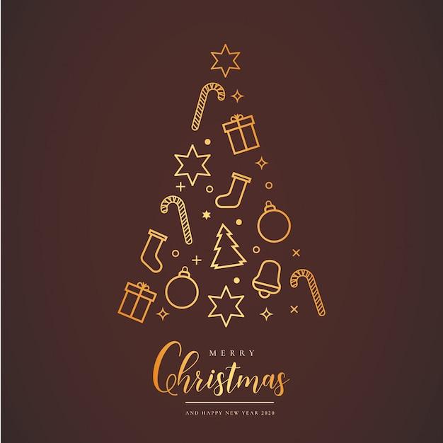 Schöne weihnachtskarte mit baum Kostenlosen Vektoren