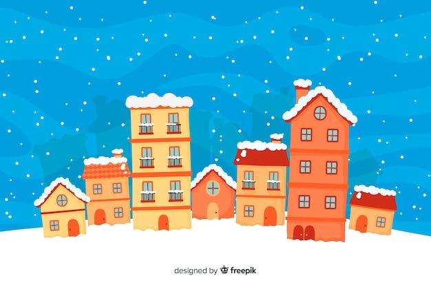 Schöne weihnachtsstadthand ertrinken art Kostenlosen Vektoren