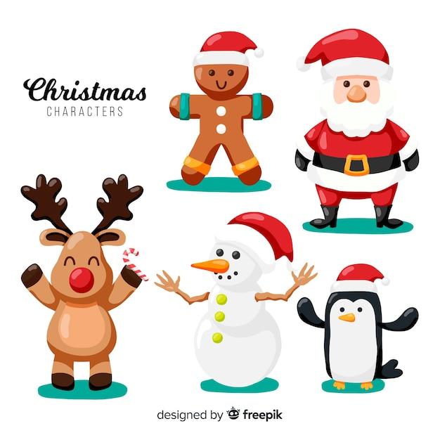Schöne weihnachtszeichensammlung mit flachem design Kostenlosen Vektoren
