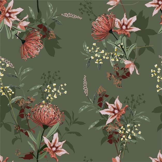 Schöne weinlese des nahtlosen musters des botanischen blühenden gartens Premium Vektoren