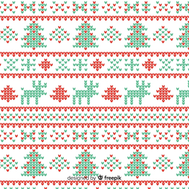 Schöne weinlese gestricktes weihnachtsmuster Kostenlosen Vektoren