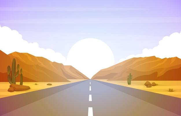 Schöne westwüsten-landschaft mit himmel-felsen cliff mountain illustration Premium Vektoren