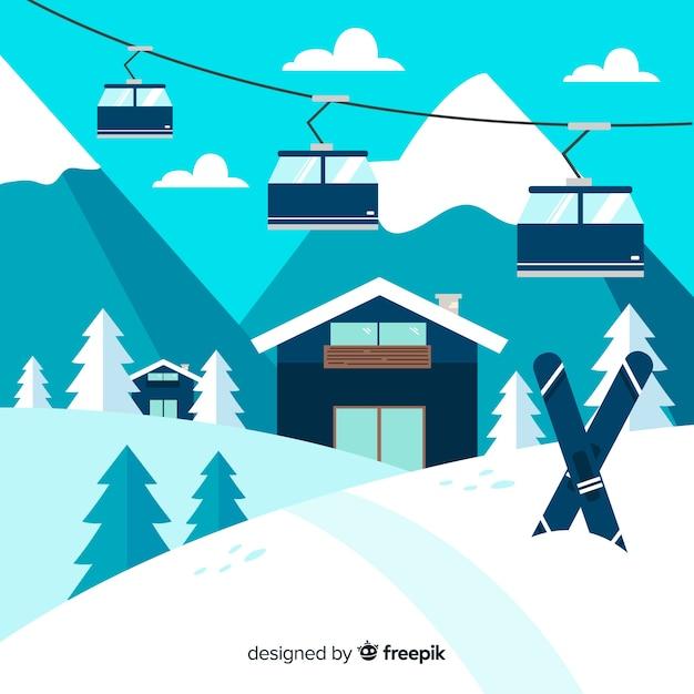 Schöne winterlandschaft mit flachem design Kostenlosen Vektoren