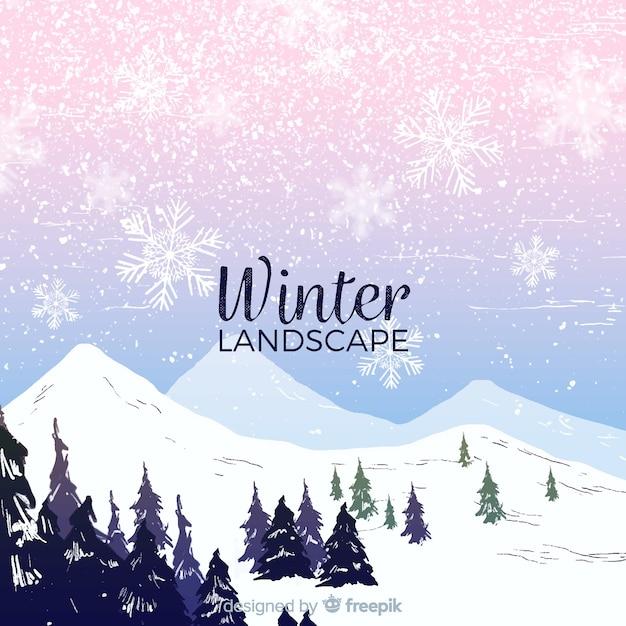 Schöne winterlandschaft zusammensetzung Kostenlosen Vektoren