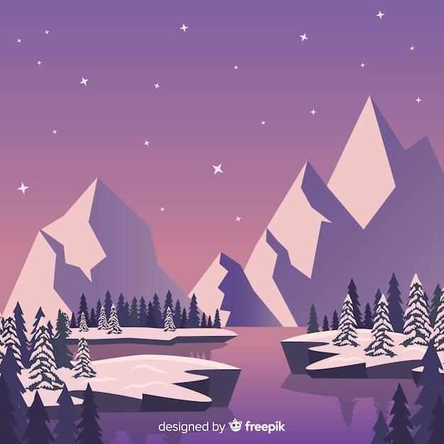 schöne winterlandschaft zusammensetzung  kostenlose vektor