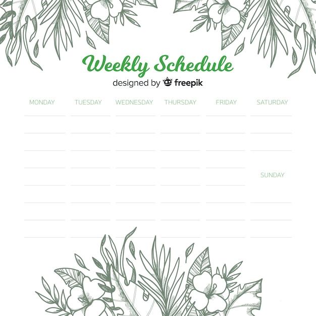 Schöne wöchentliche zeitplanvorlage mit blumenart Kostenlosen Vektoren