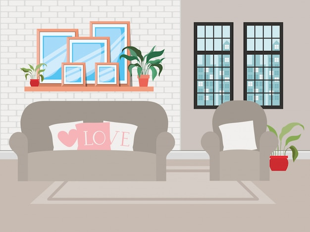 Schöne wohnzimmerhausszene Kostenlosen Vektoren