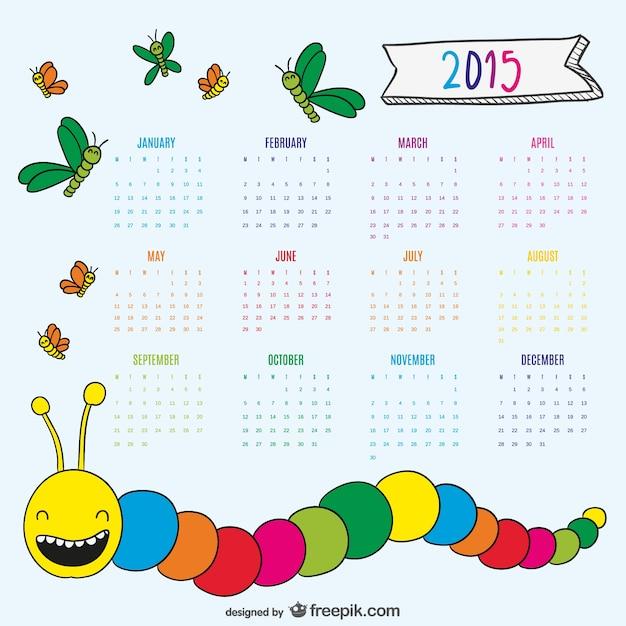 Schöne zeichnung wurm und schmetterlingen kalender 2015 Kostenlosen Vektoren